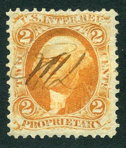 Scott R14c -1862-71 - 2c Proprietary -orange -ms. cancel F/VF
