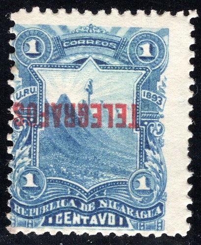 Nicaragua, RH26a, H26a, overprint inverted, MNHOG- Telegraph Revenue
