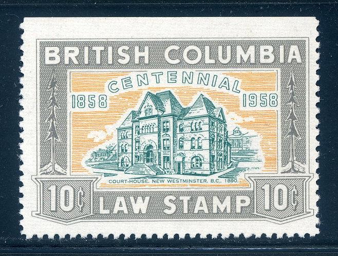 van Dam BCL46 - 10c grey- Mint NH - British Columbia Law Stamp - 1958