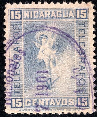 RH78,H78, 15c, grey-blue, used - Nicaragua Telegraph Revenue
