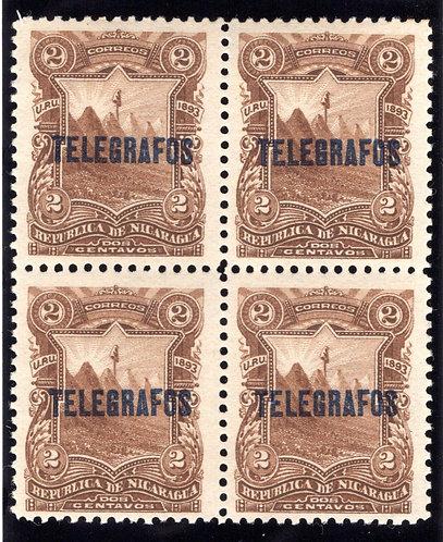 RH#27,H27, Type 6 - 2c brown - MNHOG block - Nicaragua Telegraph Revenue