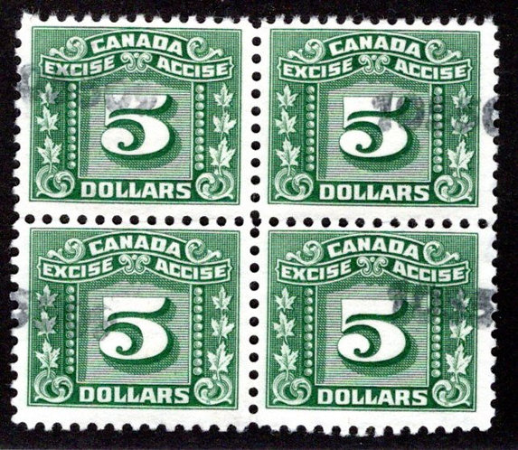 van Dam FX89, $5 green, Block of 4, Used, Three Leaf Excise Tax, F/VF, Canada