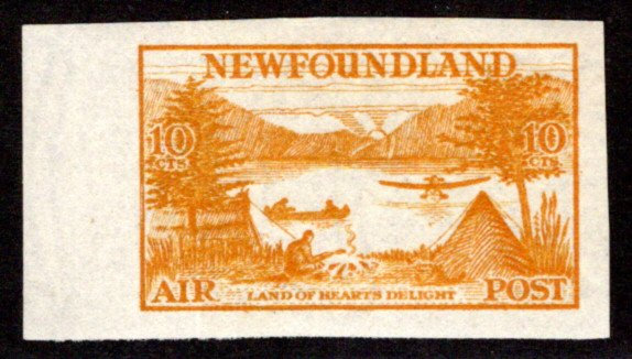 AM14e, NSSC,  single imperf, 10¢, MLH, yellow orange, Newfoundland Air Mail