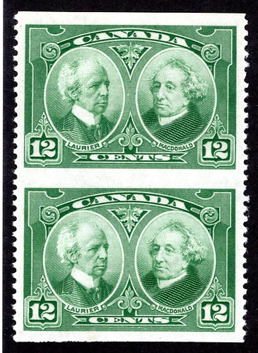 147c, Scott, Canada, 12c, vert. pair, imperf horiz, top is MLHOG