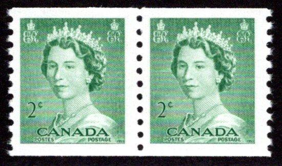 Scott 331, coil pair, 2c,MNHOG, VF, Queen Elizabeth II, Karsh, Canada