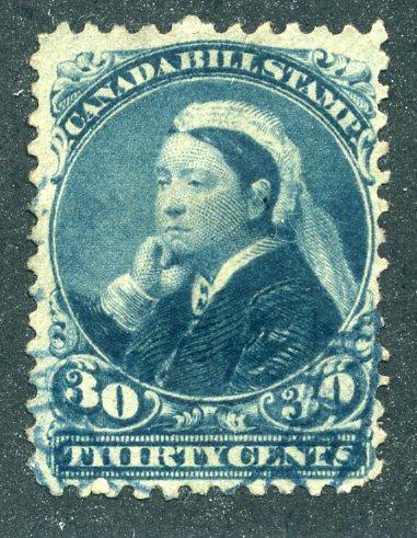 van Dam FB49- 30c blue - Used - 1868ThirdBill Issue