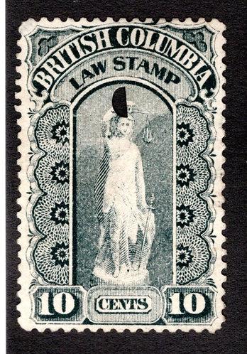 van Dam BCL5 - 10c black, Used,British Columbia Law Stamp,1888-91,Second Series