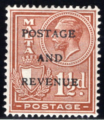 "152 Malta, MHOG, 1½p, 1928, Stamp of 1926-1927 O/P ""POSTAGE AND REVENUE"""