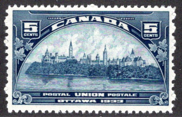 202 Scott, 5c dark blue, MNHOG, UPU Meeting, F/VF, Canada Postage Stamp