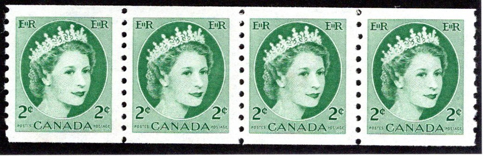 345iv, Scott, 2c green, F, Coil, Strip of 4, MNHOG, QEII Wilding, Canada Postage