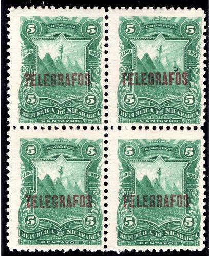 RH#28,H28, Type 6 - 5c green- MNHOG block - Nicaragua Telegraph Revenue