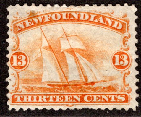 30, NSSC, Newfoundland, Canada, 13c, F, MHOG, Ship, Postagee Stamp