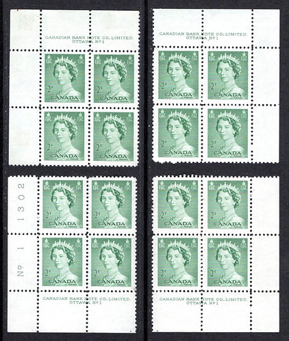 "326 Scott, Canada, PB1, Mint Set of Plate Blocks, MNH, QEII ""Karsh"" Portrait"