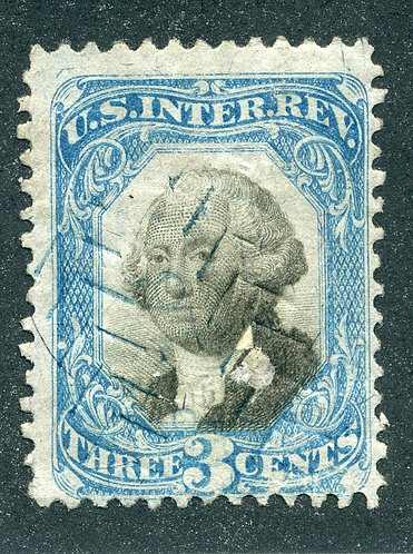 R103 - 3c - Blue and Black - Second Issue Revenue - Cut Cancel - F