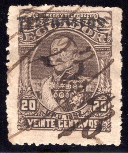 Ecuador, RH5, H5, 1892, 20c greenish brown (black overprint), Telegrafos