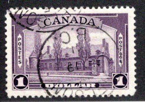 245 Scott, $1, used, CDS,Chateau de Ramezay, VF/XF,Canada Postage Stamp