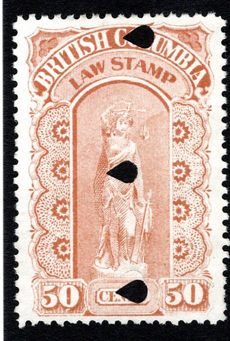 BCL11, 50c, buff, used, British Columbia Law Revenue Stamp, 3rd issue
