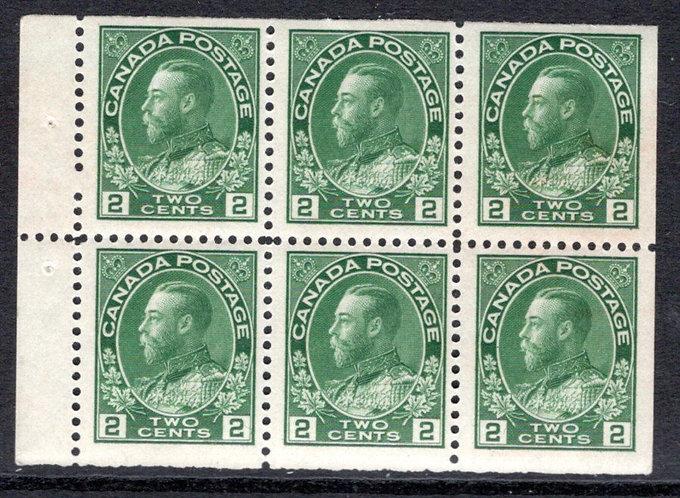 "Scott 107c, 2c yellow green, ""Admirals"" booklet pane of 6x 2c, MHOG, F/VF, Cana"