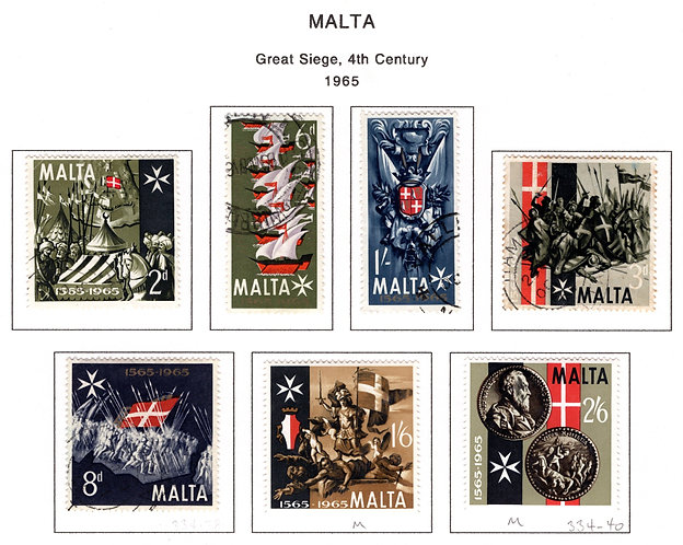 334-340 Malta, MLH and Used, Great Siege 4th Century, 1965