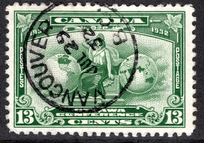 194 Scott, Imperial Economic Conference, 13c, deep green, Brittania, Used, VF