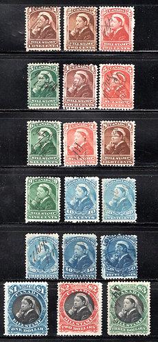van Dam FB37-FB54, Complete Used Set, Third Canadian Bill Stamp, Canada