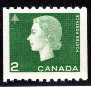 406, Scott, 2c green, VF, MNHOG, Cameo Issue, Coil, Canada Postage Stamp