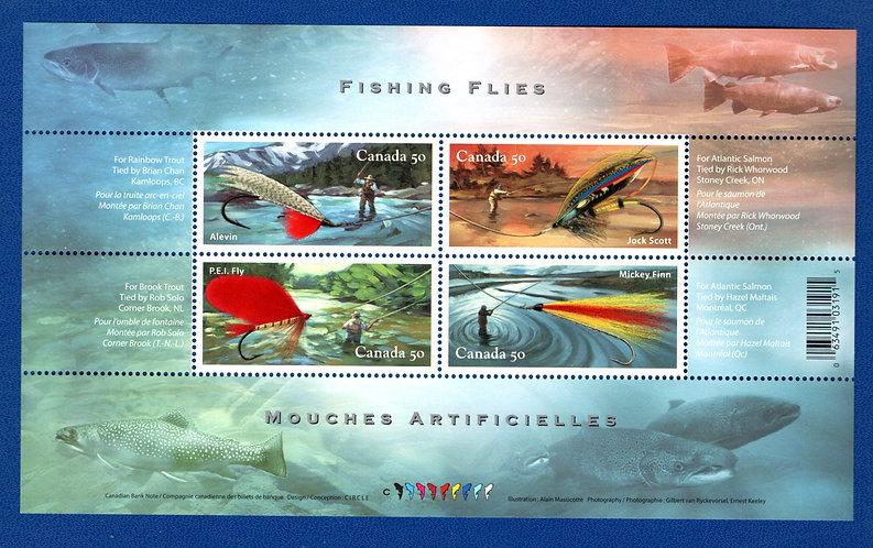 2087, Canada, $2 Souvenir Sheet, Fishing Flies, MNH