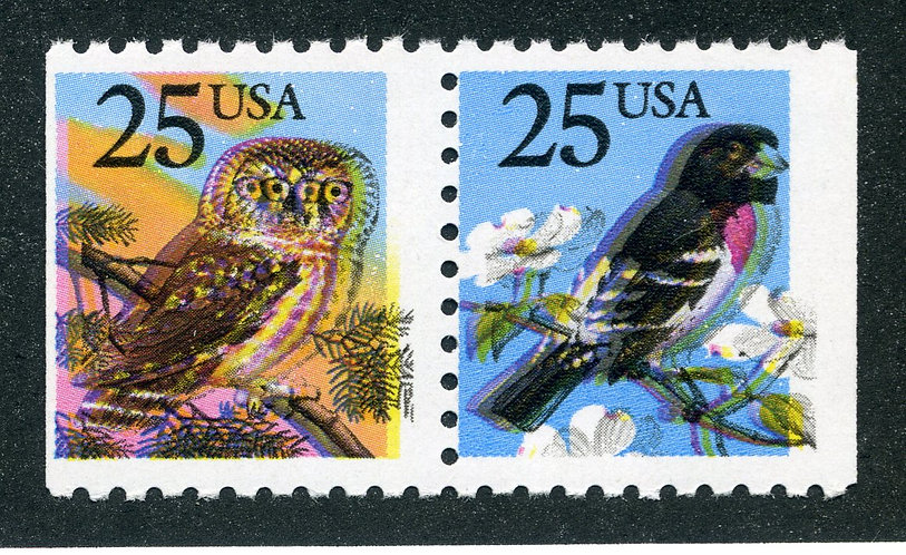 2285d USA - Extreme color shifts - 4 eyed owl - MNH - Owl and Grosbeak