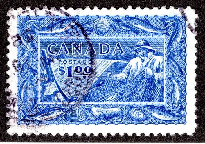 302 Scott - $1 Used, Fisherman, VF, (F is $15),Canada Postage Stamp