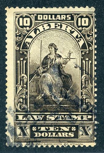 van Dam AL39 - Used hinged - $10 sepia - 1910-30 - Law Stamp - Justice Seated