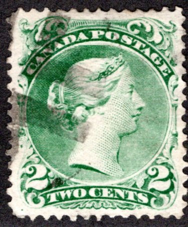 Scott 24, 2c green, Large Queen, VF, Used, Cork cancel, Canada Postage Stamp