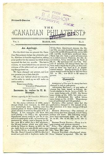 """""""The Canadian Philatelist""""March 1888, Vol. 1., No. 3. SPECIMEN COPY"""