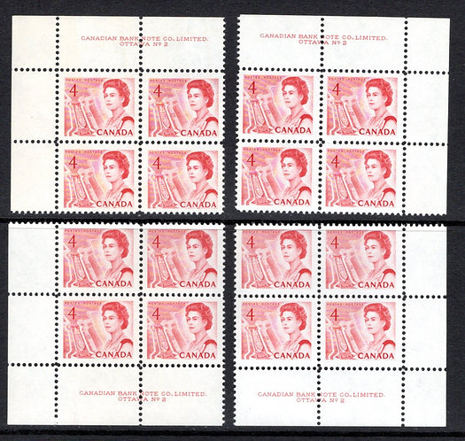 457ii Scott, Matched Plate Block Set, Plate 2, LF, DEX, MNHOG, VF, Centennial