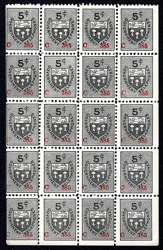 ST8b, 5c gray black, booklet pane of 20, F/VF, MNH, Saskatchewan Telephone