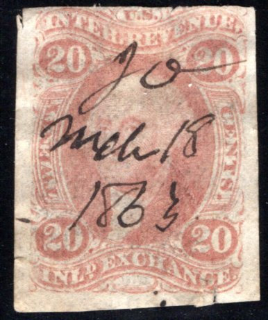 R42a, 20c, Inland Exchange, Imperf, red, US Revenue Stamp