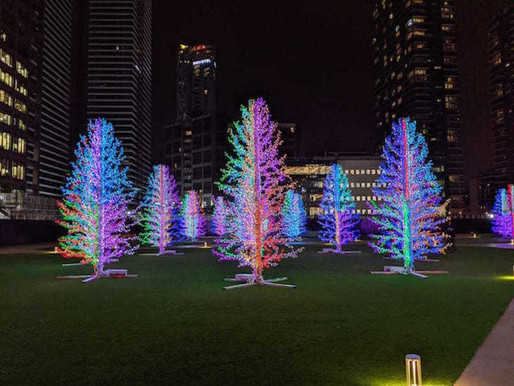 Christmas lights and decorations on your artificial lawn
