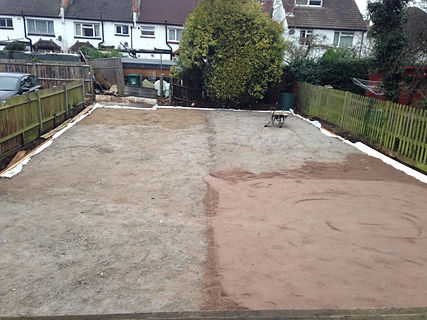 compacting aggregate foundation on preparation for fake grass artifical lawn turf installation