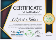 Prime-Clean Fabric and Upholstery Cleaning certificate