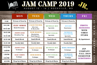 JaM Camp 2019 Schedule JR updated 04.25.