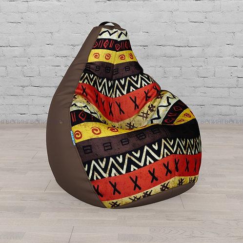 """Кресло-мешок Груша оксфорд-жаккард mix """"Шоколадная Африка"""""""