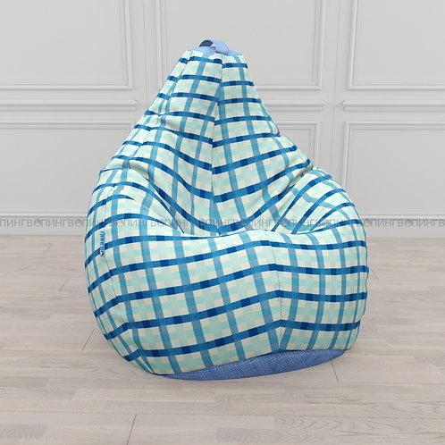 """Кресло-мешок Груша микровелюр """"Клетка голубой"""""""