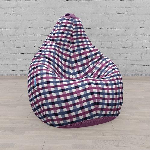 """Кресло-мешок Груша микровелюр """"Клетка фиолетовый"""""""