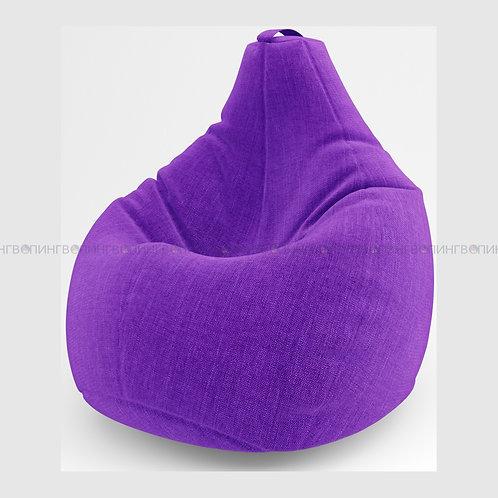 """Кресло-мешок Груша льняная рогожка """"Фиолетовый"""""""