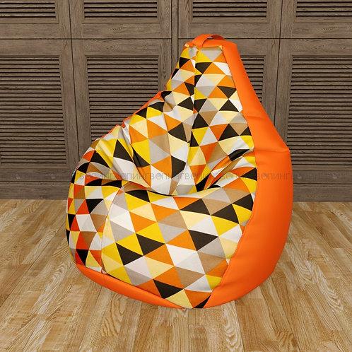 """Кресло-мешок Груша оксфорд-жаккард mix """"Ромбус оранжевый"""""""