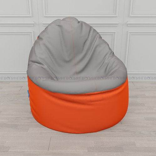 """Кресло-мешок Фирменное Тупокайф оксфорд """"Оранжевый-серый"""""""