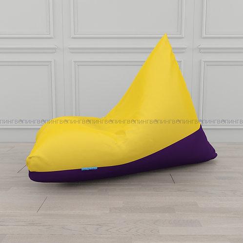 """Кресло-мешок Пирамида оксфорд """"Жёлтый-фиолетовый"""""""