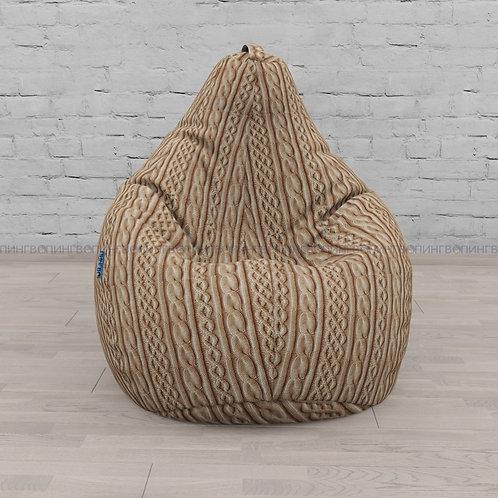 """Кресло-мешок Груша микровелюр """"Коричневые косы"""""""