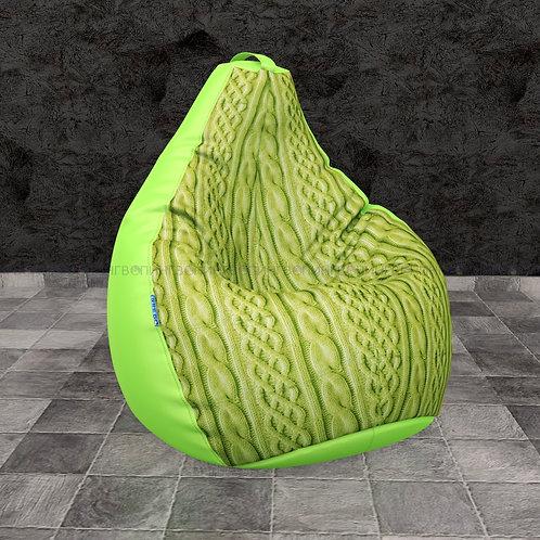 """Кресло-мешок Груша mix оксфорд-велюр """"Косы зелёные"""""""