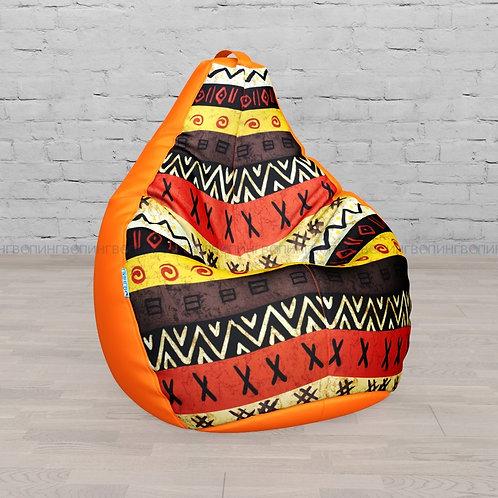 """Кресло-мешок Груша оксфорд-жаккард mix """"Оранжевая Африка"""""""""""