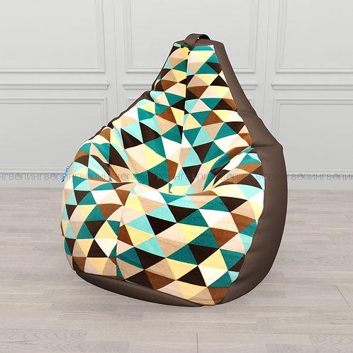 """Кресло-мешок Груша оксфорд-жаккард mix """"Ромбус коричневый"""""""